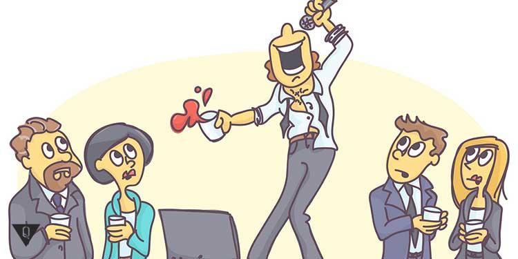 карикатура человек поёт стоя на столе