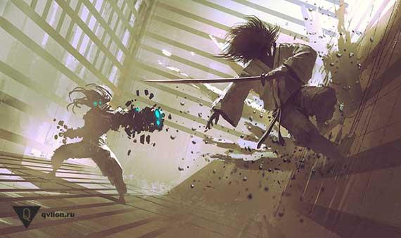 робот стреляет в самурая