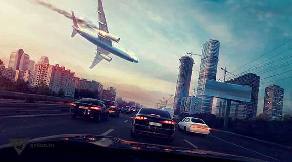 самолет падает на город