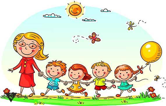 рисунок женщины и 4 детей