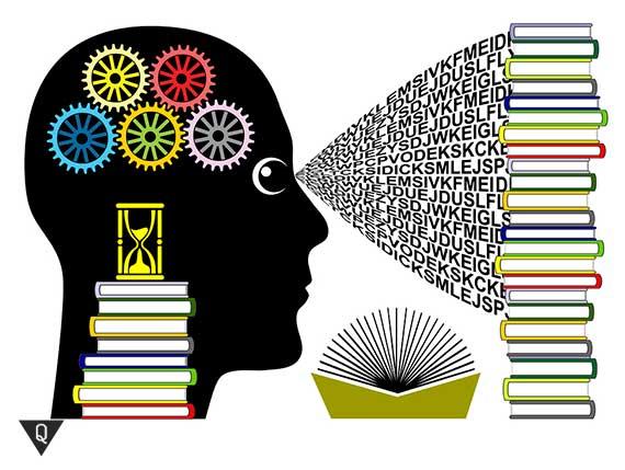 рисунок о том как прочитанные книги попадают в мозг