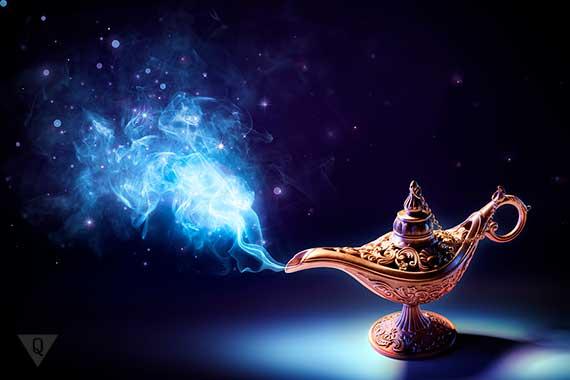 из лампы выходит волшебный дым