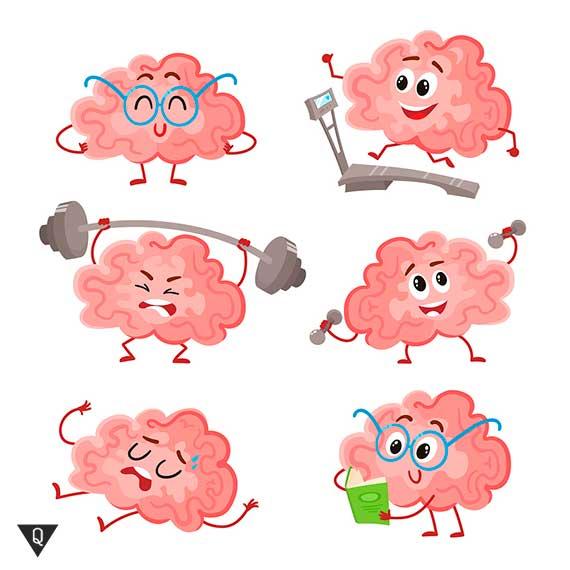 веселый рисунок тренирующегося мозга