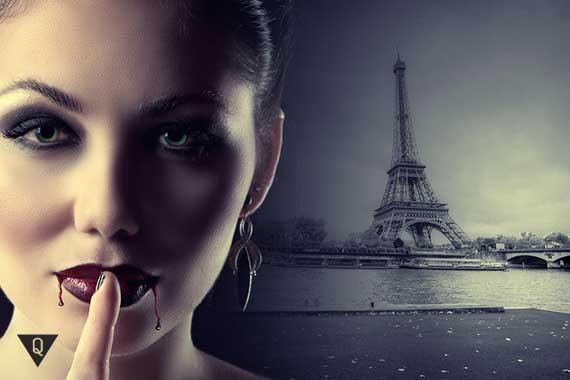 девушка вампир на фоне эйфеливой башни