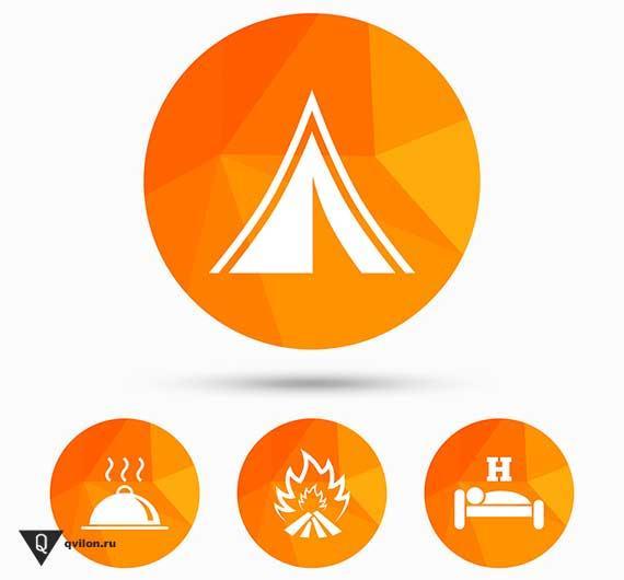схема палатки еды костра и кровати