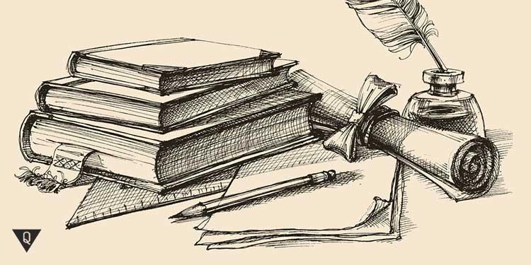 нарисованные карандашом книги и листы бумаги с пером и ручкой