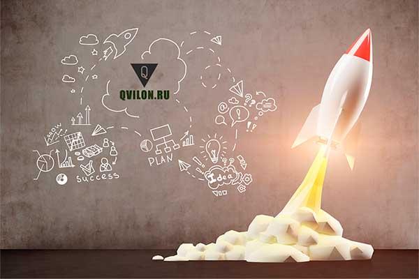 сайт qvilon.ru на фоне взлетающей ракеты