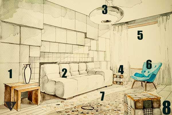 квартира с пронумерованными атрибутами мебели.
