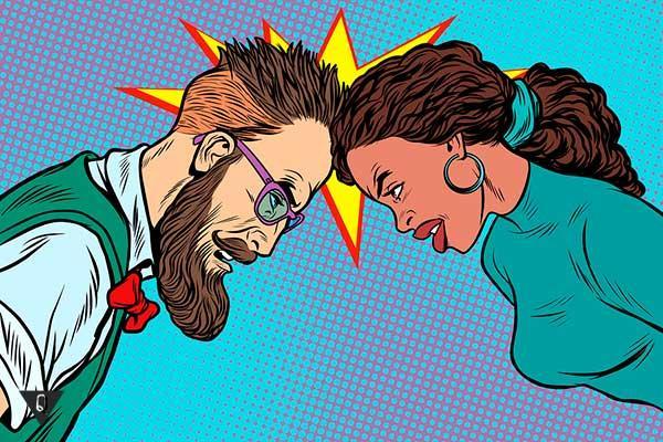 мужчина с женщиной бьются лбами