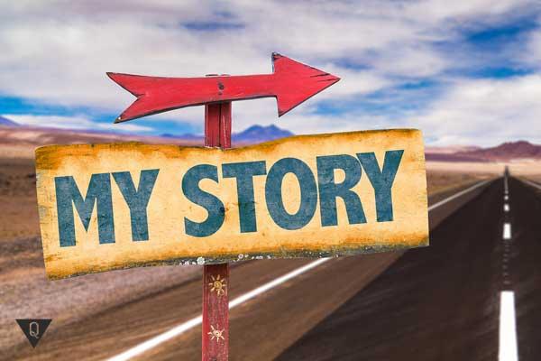 Надпись на английском: моя история