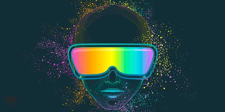 Человек в очках в окружении разноцветной пыли