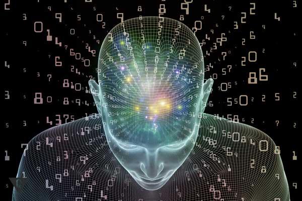 Голова человека с различными знаками, как символ наличия шестого чувства