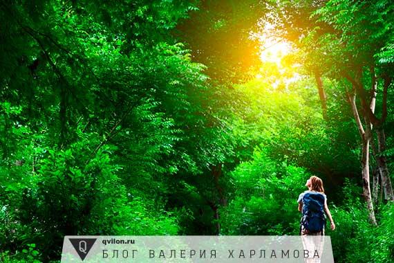 девушка гуляет в лесу