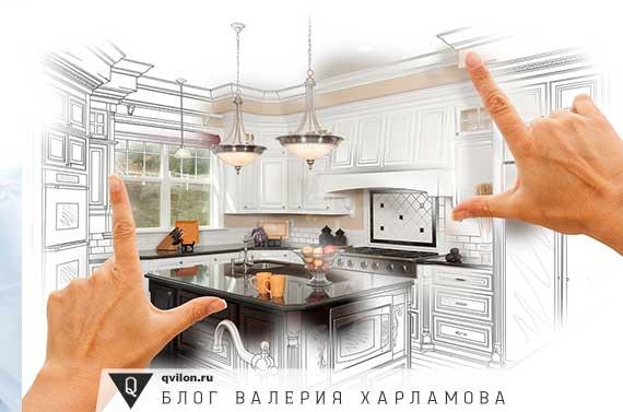 руки показывают кухню в рамке