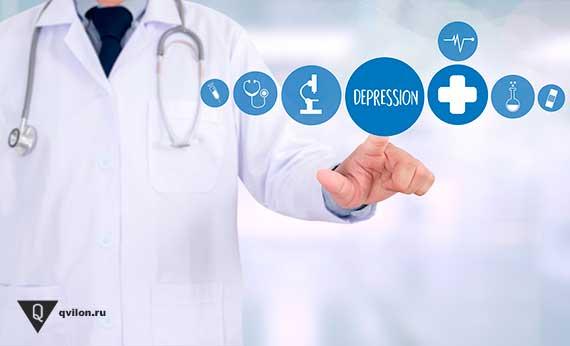 врач показывает пальцем на надпись депрессия