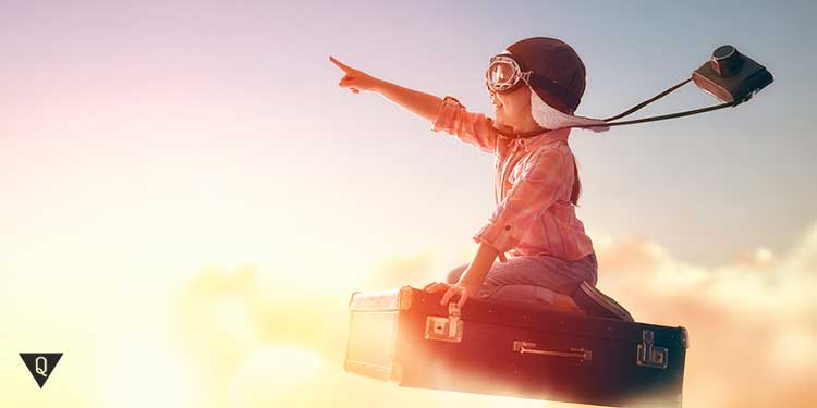 ребенок летит в своих мечтах