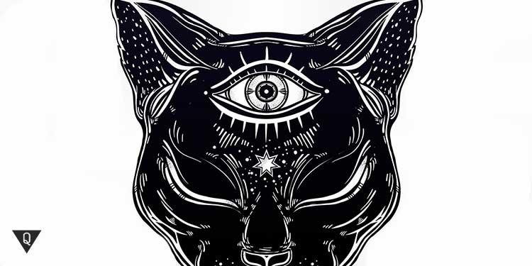 на лбу у нарисованной кошни открыт третий глаз