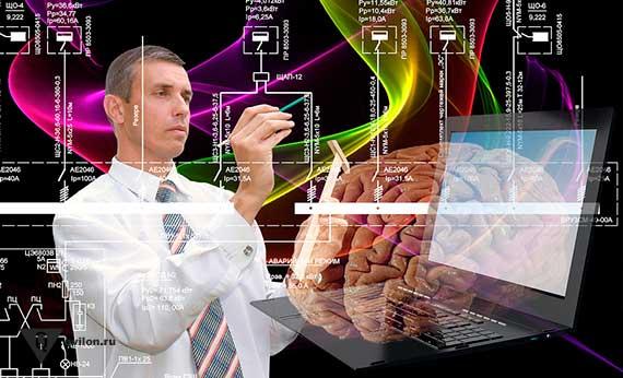 человек что то чертит на фоне мозга и компьютера