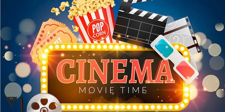 атрибуты кино и надпись cinema