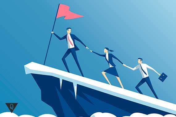 лидер с флагом ведет за собой команду