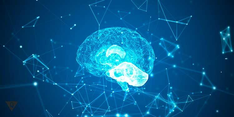 мозг в виде светящихся нейронов