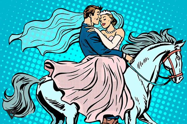 мужчина с девушкой скачут на белом коне