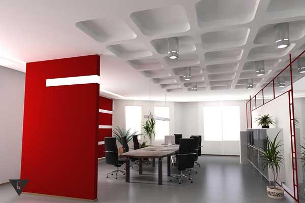 Офис с красными элементами в интерьере