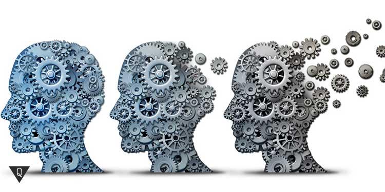 Три головы человека из механизмов, которые улетают, как символ деградации