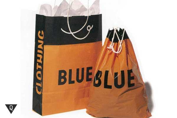 Надпись синий на оранжевом пакете