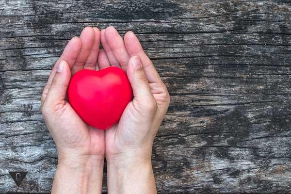в руках сердце