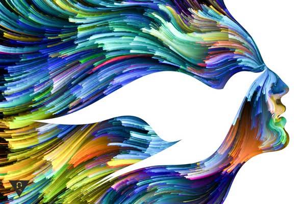 Лицо, птица из ярких красок.
