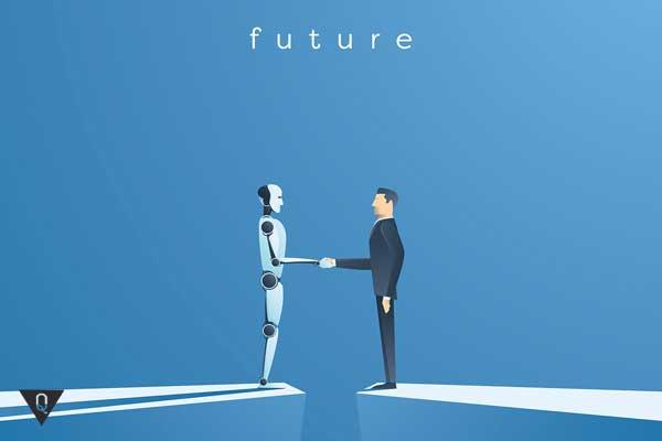 Робот и человек жмут друг другу руки