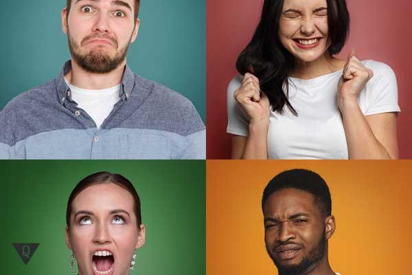 Четыре человека с разными эмоциями