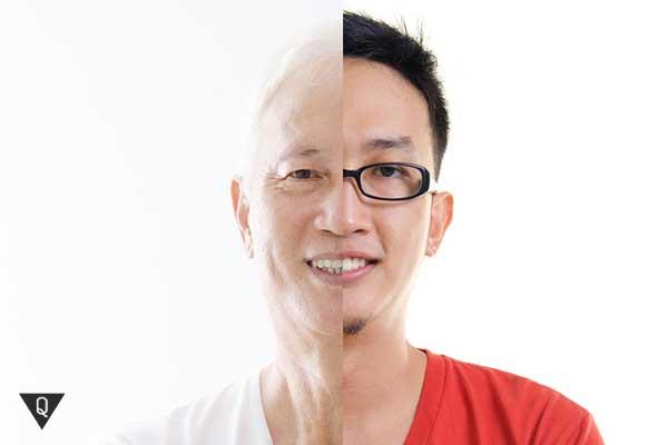 Мужчина наполовину молод и наполовину стар