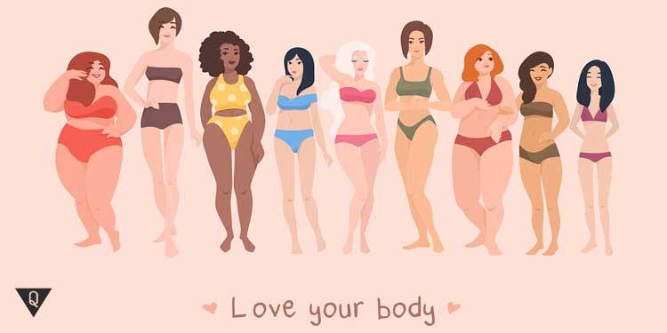 """Женщины и надпись """"любите свое тело"""""""