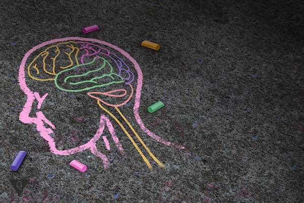 Мохг человека нарисован мелками на дороге