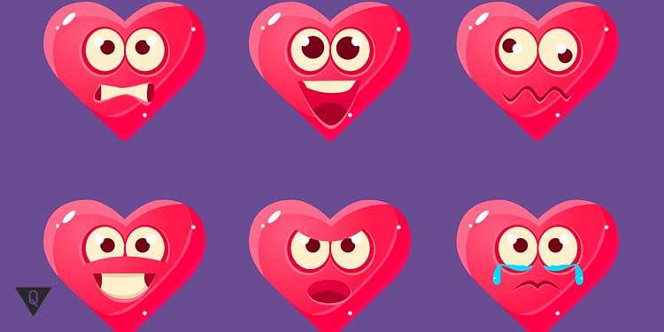 Нарисованное сердце с разными эмоциями