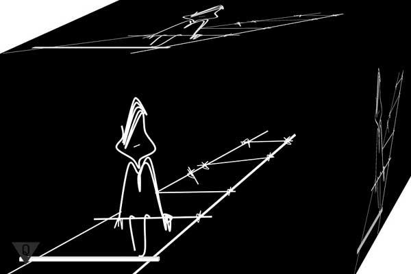 Нарисованный человек сидит на лестнице