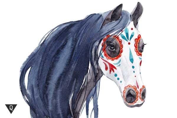 Лошадь разрисованная как символ гиппофобии