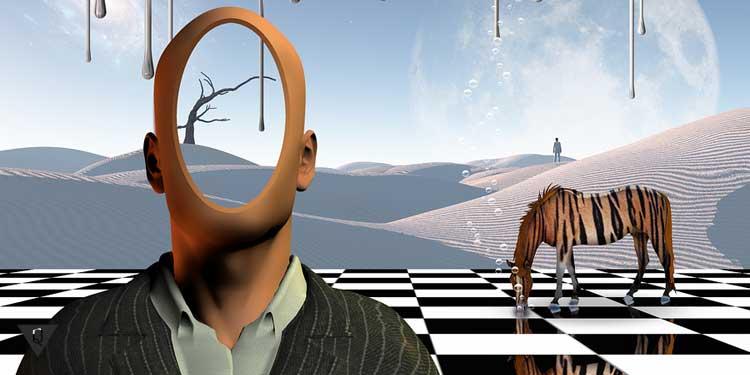 Мужчина без лица на фоне лошади
