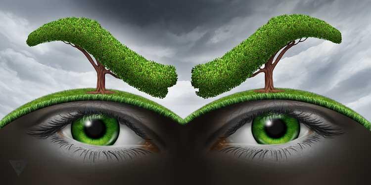 Рисунок, на котором земля в виде глаз, а деревья по форме бровей