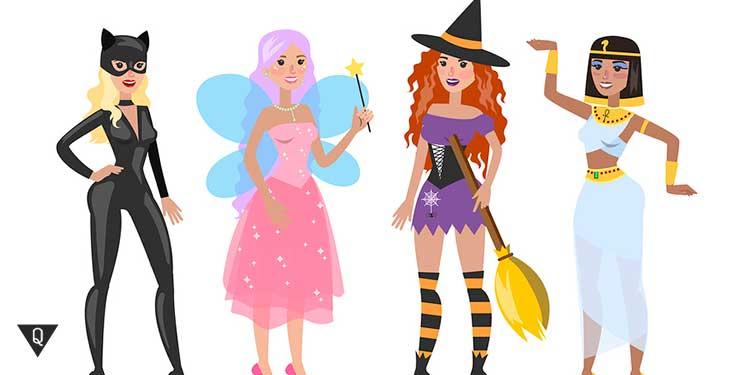 Девушки в разных костюмах