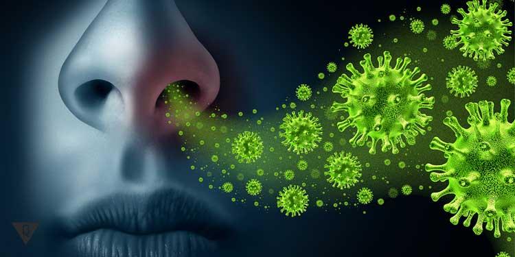 Микробы летят в нос человека