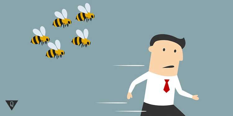 Человек убегает от пчёл